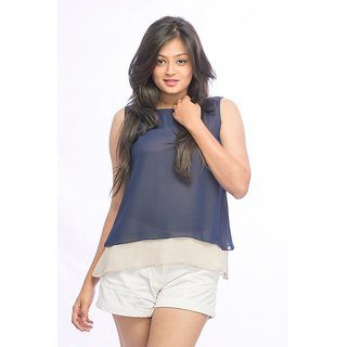 Pinwheel Blue Grey Double Layer Georgette Top