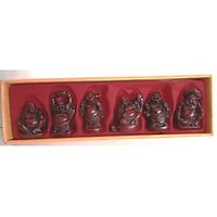 Feng Shui Vastu Red Laughing Buddha For Happiness And Wealth Set Of 6 Pcs Gift