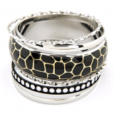Black And Silver Bangles Set