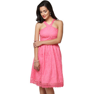 Yepme Kylie Slim Fit Lace Dress - Pink