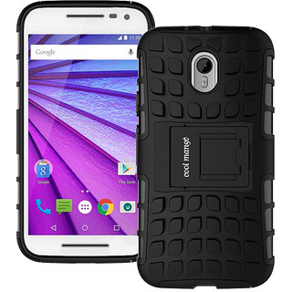 Motorola Moto G3 Back Cover / Case - Motorola Moto G 3rd Gen Back Cover / Case - Cool Mango Premium Dual Layer Armor Protection Case Cover with Kickstand for Motorola Moto G3 - Black