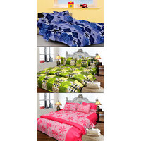 JBG Home Store Set Of 3 Cotton Double Bedsheet With 6 Pillow Covers