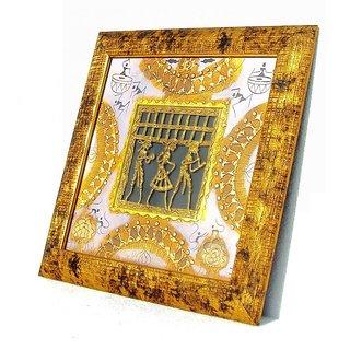 Dokra Art Decorative Brass Metal Designer Wall Frame (33 cm x 33 cm)