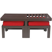 Arra Trendy Coffee Table With Two Stools - Red