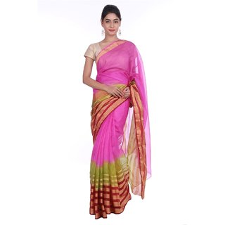 Geroo kota Art silk saree With zari border and blouse piece SAKA-1560