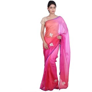 Geroo Pink and Orange pure Kota silk Shaded Saree With Gotta Patti Work SAJ-1583