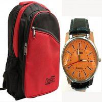 Fidato Red Backpack  & Watch Combo