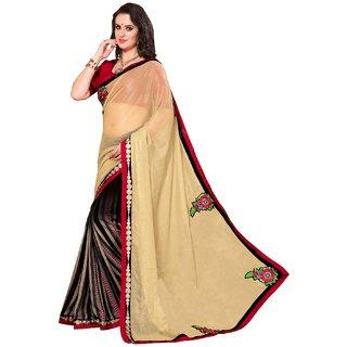 Pallavi Gerbera Designer Georgette Half Half Printed Saree With Emboridery 1005