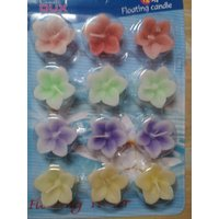 Multicolour Flower Floating Candle (Pack Of 12) By Kapoor Creations