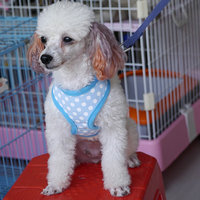 Pet Dog Soft Mesh Harness Clothes M - Blue With White Dots