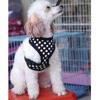 Pet Dog Soft Mesh Harness Clothes L - Black With White Dots