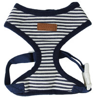 Pet Dog Puppy Dark Blue Striped Mesh Adjustable Harness Clothes Size L