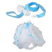 Dog Puppy Soft Mesh Harness Leash Walking Collar Vest Chest Strap Blue L