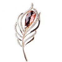 Fashion Feather Leaf Design Pin Brooch With Rhinestone Gift/Wedding/Scarf