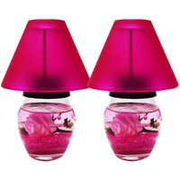 Gel Glass Tea Candle Lamp Rose 15cm Set Of 2