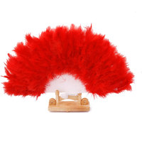 Lady Women Burlesque Wedding Hand Fancy Dress Costume Dance Feather Fan Red
