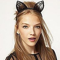 Fancy Dress Costume Party Black Wired Lace Cat Ears Headband