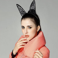 Fancy Dress Costume Party Black Wired Lace Rabbit Long Ears Headband