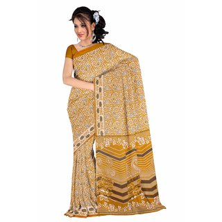 Fostelo Brown Cotton Printed Saree Without Blouse