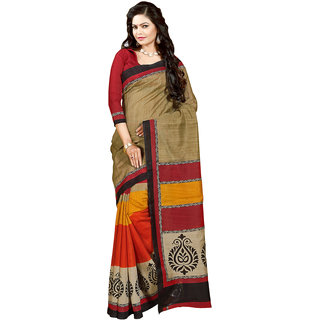 Gerbera Designer Amazing Bhagalpuri Silk Beige and Red Designer Printed Saree