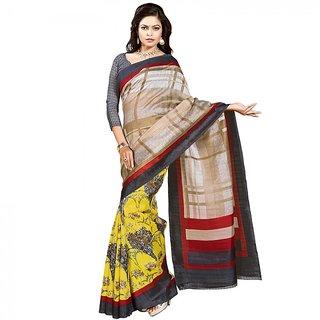 Gerbera Designer Amazing Bhagalpuri Silk Beige and Grey Designer Printed Saree