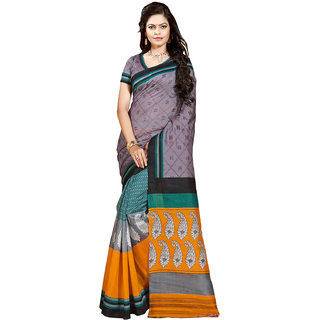 Gerbera Designer Amazing Bhagalpuri Silk Grey and Orange Designer Printed Saree