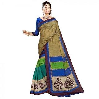 Gerbera Designer Amazing Bhagalpuri Silk Multicolor Designer Printed Saree