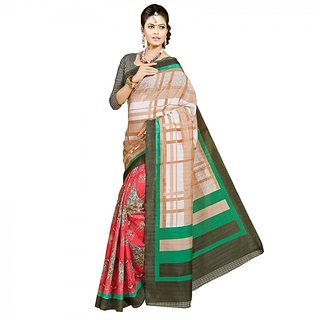 Gerbera Designer Amazing Bhagalpuri Silk Pink and Beige Designer Printed Saree