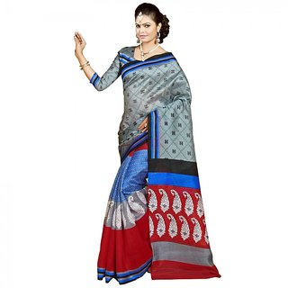 Gerbera Designer Amazing Bhagalpuri Silk Grey and Red Designer Printed Saree