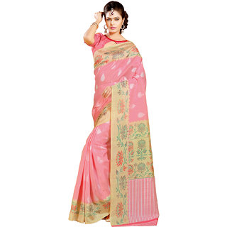 Gerbera Designer Amazing Bhagalpuri Silk Peach and Beige Designer Printed Saree