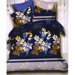 ValtellinaFloral Print 1 Double Bedsheet  2 Pillow Covers(FLTN-003)