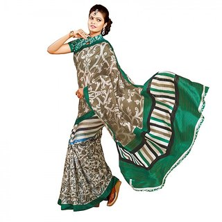 Gerbera Designer Amazing Bhagalpuri Silk Green and Beige Designer Printed Saree