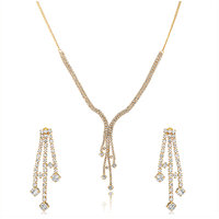 Oviya Gold Plated White Rain Drops Necklace Set with Crystals NL4101111G