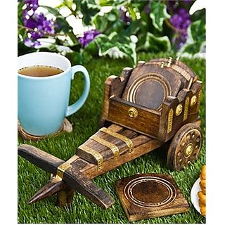 Wooden Tea Coffee Coaster Set cart style by Desi Karigar
