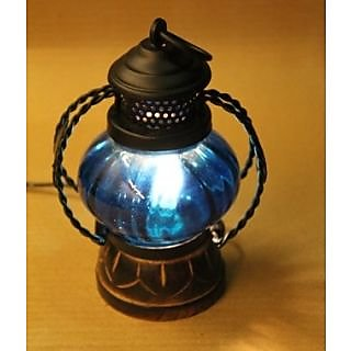Wooden & Iron Hand Carved blue Colored Electric Lantern by desi karigar
