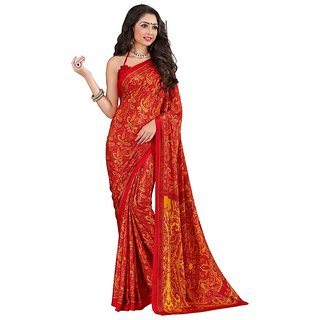 A G Lifestyle Orange Luster Crepe Saree with Blouse CRD283C