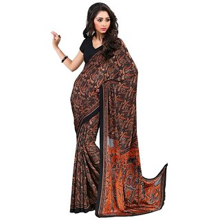 A G Lifestyle Black Luster Crepe Saree with Blouse CRD283D