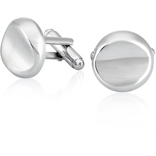 Mahi Rhodium Plated Plain Round Gilt Cufflinks