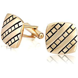 Mahi Gold Plated Square Beveled Cufflinks