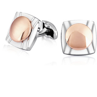 Mahi Rhodium Plated Round Square Stark Cufflinks