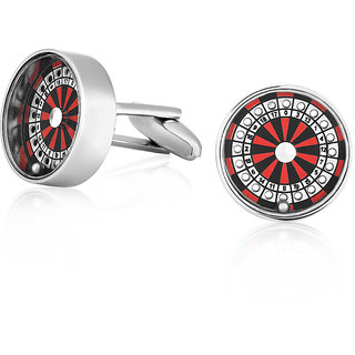 Mahi Rhodium Plated Round Casino Red And Black Roulette Cufflinks