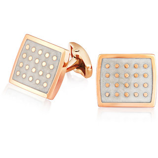 Mahi Rose Gold Plated Square Dotted Cufflinks