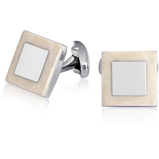 Mahi Rhodium Plated Square White Cufflinks