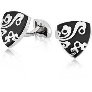 Mahi Rhodium Black Floral Cufflinks
