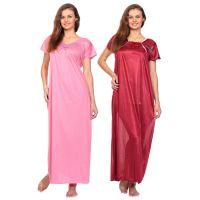 Raabta Fashion Satin Round Neck Nighty Pack of 2 (Color May Vary)