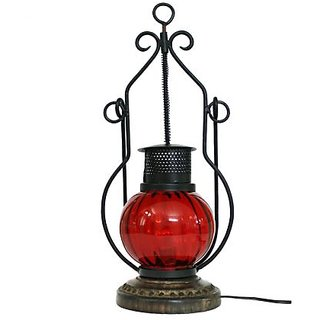 Wooden & Iron Hand Carved Colored Electric Lantern by desi karigar