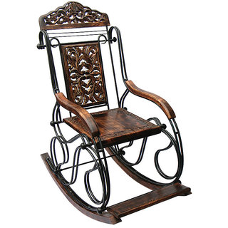 Premium Quality Wooden & Iron Rocking Chair Fully Foldable | Grandpa Chair Fully foldable by Desi Karigar