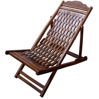 Wooden Hand-carved Resting Chair by Desi Karigar