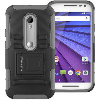 Cool Mango Moto G 3rd Gen Tru Armor Shock Proof Cover  Dual Protection Case for Moto G3   Grey