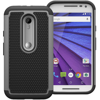 Cool Mango Moto G 3rd Gen Armor Cover  Dual Layer Shock Proof Case for Moto G3   Grey